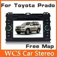 2din Car Dvd Automotivo Player For Toyota Prado 2002-2009 W/ GPS Navigation+Radio+Tape Recorder+Audio+Free Map,Steering Wheel