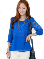 Brand Women 2014 Large size Korean wild sweet and elegant eyelashes lace Shirts,Maxi Size blouse womens,BLACK/blue/whiteM-4XL