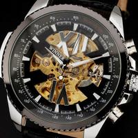2014 new winner fashion steel case leather band calendar men mechanical wristwatch classic self-wind wrist watch 2386