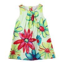 Retail girl dress Flower Painting girl dresses oil new fashion 2014 100% cotton  floral dresses children clothing dresses