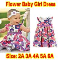 Retail Girl Dress New Arrival 2014 100% cotton baby girl dress floral dresses children clothing flower girl dresses