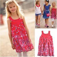 Retail 2014 dresses girls chiffon dress with diamond girls sundress with cotton linging 5 6 7 8 9 10 11 12 years