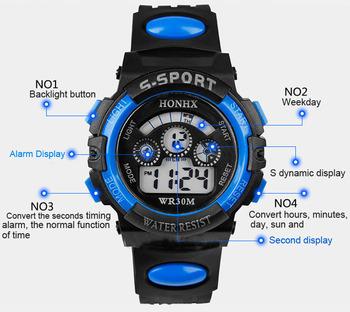 1 шт. водонепроницаемый мужчины мальчик цифровой из светодиодов кварц дата спортивный наручные часы T -