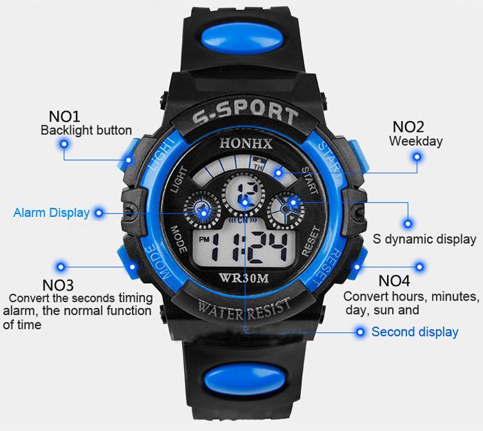 1 pc Waterproof Men Boy Digital LED Quartz Alarm Date Sports Wrist Watch T-east(China (Mainland))