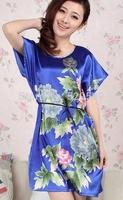 Free shipping and Hot Sale!Coolness Imitated Silk 8 Flowers Printed Ladies NightDress Sexy Pajamas Nightwear Dress