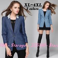 XL-4XL Brand Lace Patchwork Denim Blazers Ladies Jackets Tops Outerwear 2014 Autumn Fashion Plus Size Women Clothing 3163