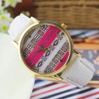 Nwe 2014 Fashion Classics GENEVA Leather Wristwatch For Women Dress Watch Quartz Watch Relogio clock
