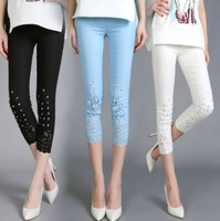 X.99 Fashion Plus Size Summer Female Pencil Pants Lace Crochet Diamond White Blue Black slim sexy strenth casual trousers