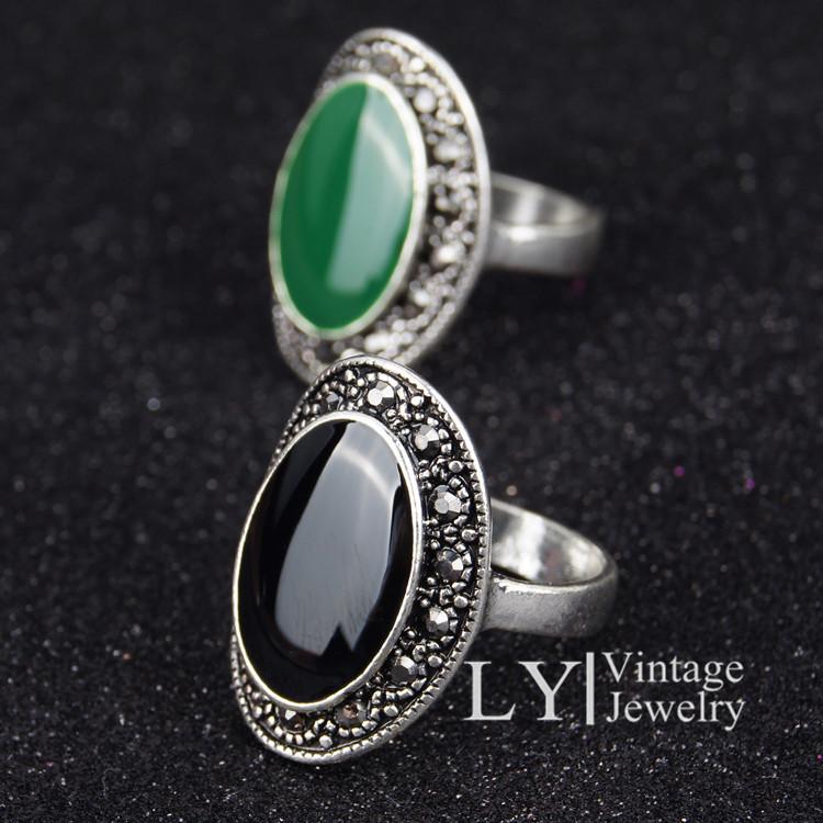 925 Silver Ring Vintage Jewelry Enamel Black And Green Cheap Jewelry Free Shipping Azora Joyas Women