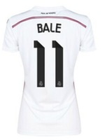 TOP THAILAND! 14/15 Real Madrid 11 BALE 7 RONALDO 4 SERGIO RAMOS 14 ALONSO WOMEN best thailand quality Home Away soccer jersey