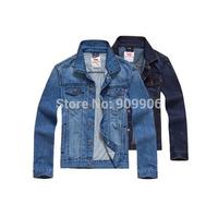 New Arrival 2014 Men's Clothings Tops Washed Casual Denim Jacket Lapel Jeans Plus Size Cotton Outwear