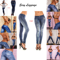 2014 Hot Sale Women Stretchy Jean look Fashion legging Pants sexy Leggings Slimming Jeggings 20 styles Wholesale free shipping