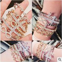 S72 fashion women  gold bracelet t New 2014 Fashion classic LOVE bracelet Eight bracelet with the cross bracelet Wholesale