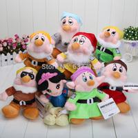 "8 pcs/set 8'' Free shipping The Snow White Princess and 8"" Seven Dwarfs Soft plush Doll Toys set"