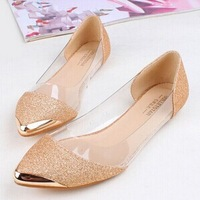 Cheapest 2015 New Chic Metal Pointed/Closed Toe Transparent Shiny Pointed Ballet Flat Shoes,Women's Ladies Shoes