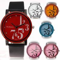 2014 new fashion womage cool big cute index leather band military women men classic wrist quartz watch