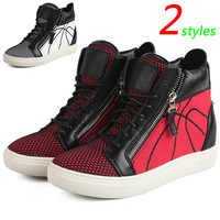 GZ Punk Genuine Leather Red Canvas Fashion Sneakers,Double Zipper,Street Shoes,EU35-39,Height Increasing 4cm,Women's Shoes