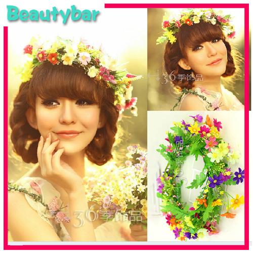 Rainbow Color Boho Rural Daisy Flower Artificial Hair and Bracelet Garland ,Holiday Beach Party Festival Girls Hair Hoop(China (Mainland))