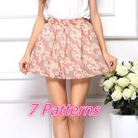 SZ088 2014NEW 2015 Women's Summer Skirt Casual Cute Above Knee MINI Short Chiffion Skirts Women Interlining saias Feminina