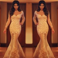 Sexy See Through Champagne Long Sleeves Evening Dress Sweetheart Appliques Mermaid Prom Party Dress 2014
