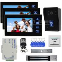 7 Inch Monitor Video Door Phone Intercom Doorbell Home Security + Remote Control + 280kg 350lb Magnetic Lock 1 V 3