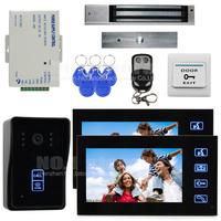 7 Inch Monitor Video Door Phone Intercom Doorbell Home Security Kit + Remote Control + Magnetic Lock SY806MJID12