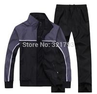 Free shipping,2014 spring autumn MEN sportswear men's turn-down collar track suit sports set (jacket+pants)running sports wear