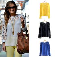 6 Sizes 4 Colors  Vintage Style Womens Elegant Crochet Openwork Lace Patchwork Blouses Crew Neck Long Sleeve Chiffon Shirts