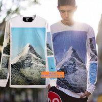 Autumn New! bigbang GD HBA Hood By Air Grid Snow Mountain Print Lovers Extend Long Pullover T-shirts DYX049