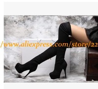 Newest! 2014 Women Autumn Winter Over-knees Boots,Suede Leather Platform 14cm Thin High Heels Sexy Boots, Big Size 34-41