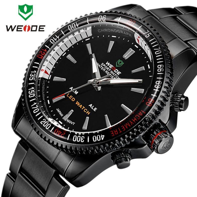 Weide men's stainless steel quartz watch multi-function 3ATM LED display calendar hour Janpan movement Analog Brand watch(China (Mainland))