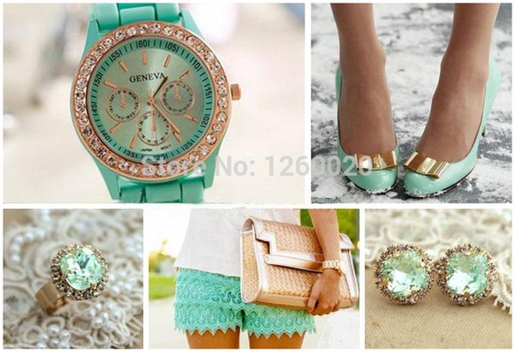 free shipping 2014 brand geneva silicone dress watch women elegance gift gemstone jewelry wristwatch