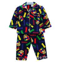 Retail baby boys Fireman Sam long sleeved flannelette flannel sleepwear pyjamas kids Pajama Sets