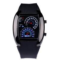 50pcs/lot Mens Watches Blue & Black Flash Digital LED Military Watch BrandSports Race Car Meter Dial Watches For Men WA020