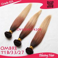 Ombre 1b/33/27 Three color 3 Tone,6A brazilian straight virgin hair.100% human hair weave bundle,4 pcs lot,cheap queen hair weft