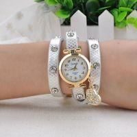 2014 New fashion wrap around bracelet watch crystal rhinestone long leather women wrist quartz watches dress watch ZMPJ110#M4