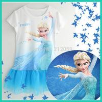 Summer New Arrival Frozen Girl Princess Dress Net Yarn Baby Frozen Cartoon Dresses 90-140 2-7Year Kids Clothing