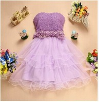 New bridesmaid dress strapless wedding dress with short skirt take little flower decoration novel a toast to the bride