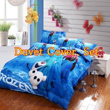 Frozen bed linen duvet cover & pillow case Elsa & Anna Bedding 100% Cotton Quilt/Doona Cover  Single double queen king(China (Mainland))