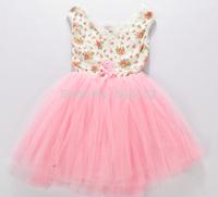 1PC Summer Children Girls Dress Dresses Kids Vest Floral Cotton Dress Pink/Green Yarn Fashion Vestidos Meninas Girl Party Dress