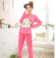 2014 Women's Cotton Women pyjamas Sets Ladies Hello Kitty Pajamas Suit Cartoon Nightgown for Home Wear Plus Size Sleepwear