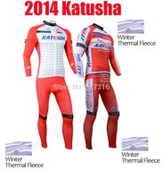 2014 katusha Winter Thermal Fleece Cycling Jersey Long Sleeve and Cycling (bib) Pants Kit Ropa Ciclismo Clothing MTB