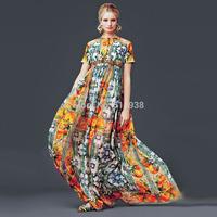Luxury 2014 new women beading belt vintage fashion brand patterns print long dress floor length short sleeve chiffon dresses