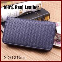 Men Wrist Bag Genuine Leather Men Wallets Double Zipper Men Wallet Change Coin Card Holder High Quality Fashion Men Bags