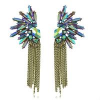 2014 Fashion Jewelry Colorful Angel Wing Rhinestone Crystal Drop Tassel Earrings Fashionable Ancient Ways Free Drop Shipping