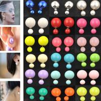 vintage fashion sterling silver jewelry Double Pearl channel Earrings Ear Studs earrings for women