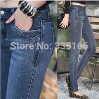 New Arrival Woman Jeans Mid Waist Plus Size Slim Female Elastic Pencil Pants Skinny Denim Trousers All-match  #JM06900