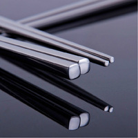 Top 304 stainless steel chopsticks metal slip-resistant chopsticks set single and double food