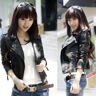 Korean Стиль Youthful Женщины Leather Jacket Модный Повседневный Slim Сплошной Длинный ...