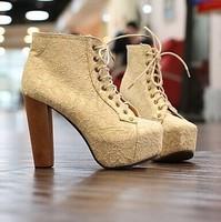 2015 New Women Ladies Spring Autumn Fashion Round Toe Platform Think High Heel Boots,Lace Up Martin Boots M018